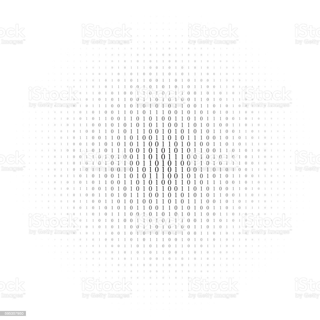 Binary code black and white background vector art illustration