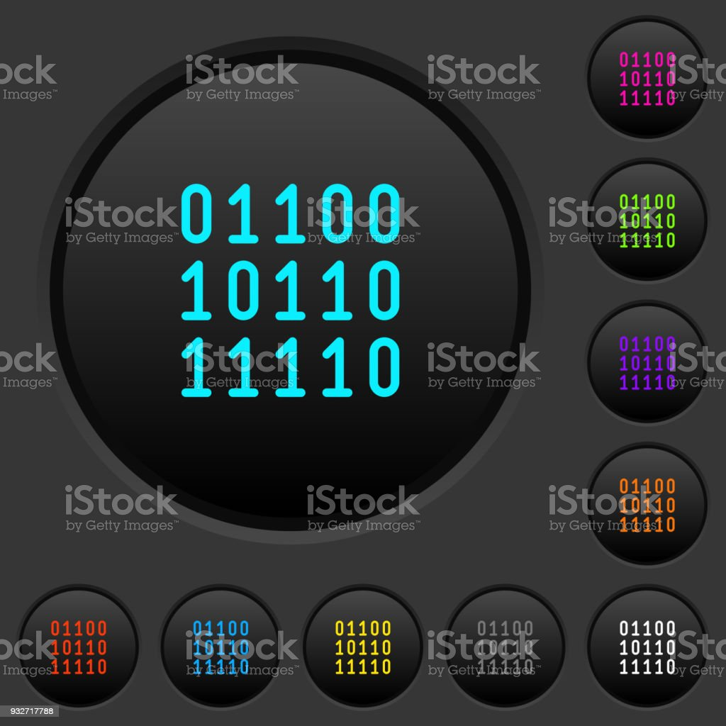 Binary code dark push buttons with color icons vector art illustration
