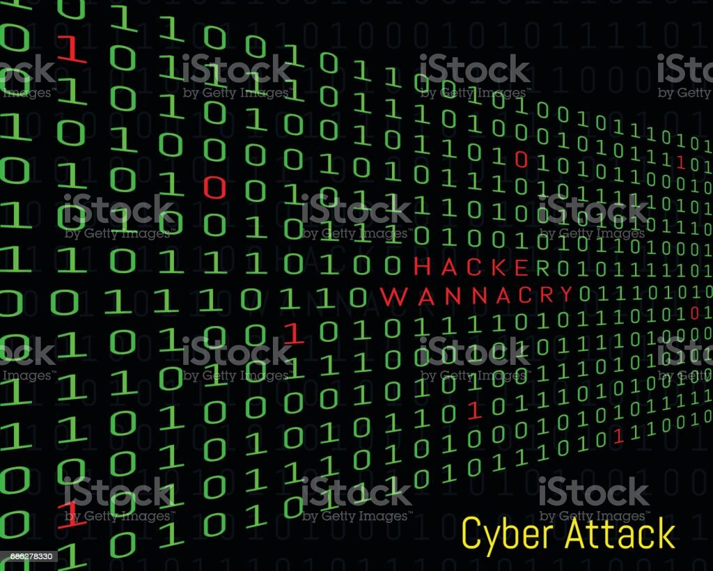 Binary Code Hacker And Wanna Cry Text Security Online Stock