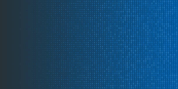 ilustrações, clipart, desenhos animados e ícones de fundo de meio-tom do código binário. zero e um símbolos abstratos. ilustração em vetor programação conceito de codificação - code