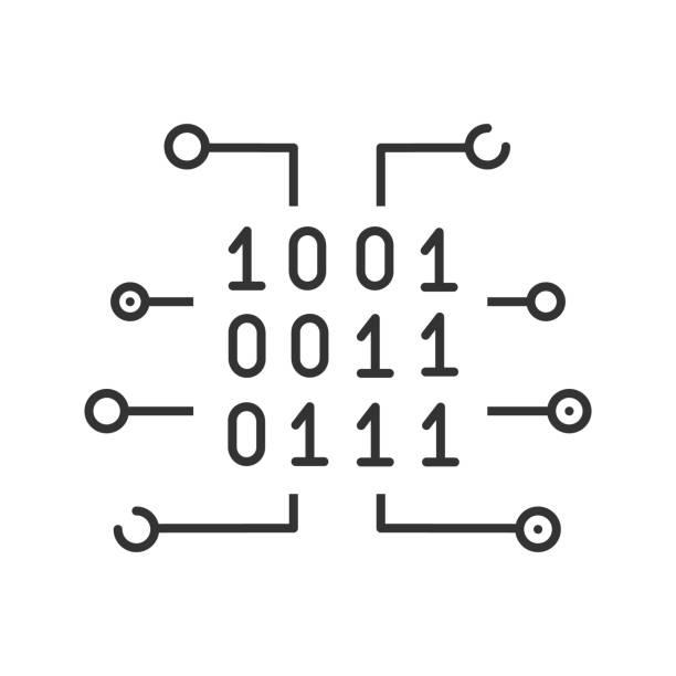 Binary code icon Binary code linear vector icon. Thin line. Digital data binary code stock illustrations