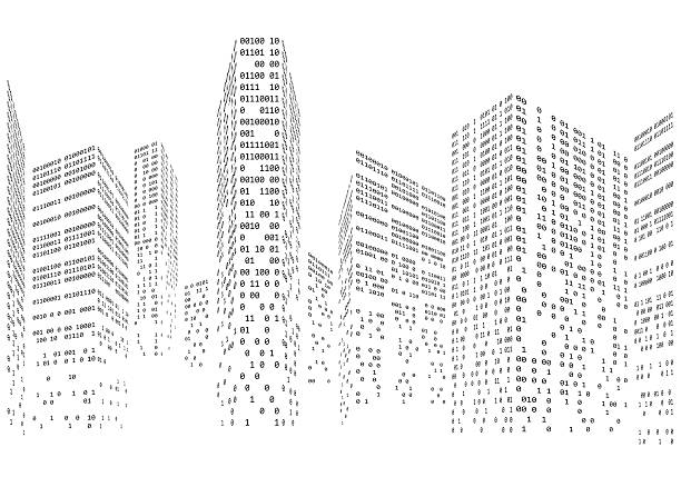 Binary code in form of futuristic city skyline vector art illustration