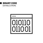 istock Binary Code Line Icon, Outline Vector Symbol Illustration. Pixel Perfect, Editable Stroke. 1190263457