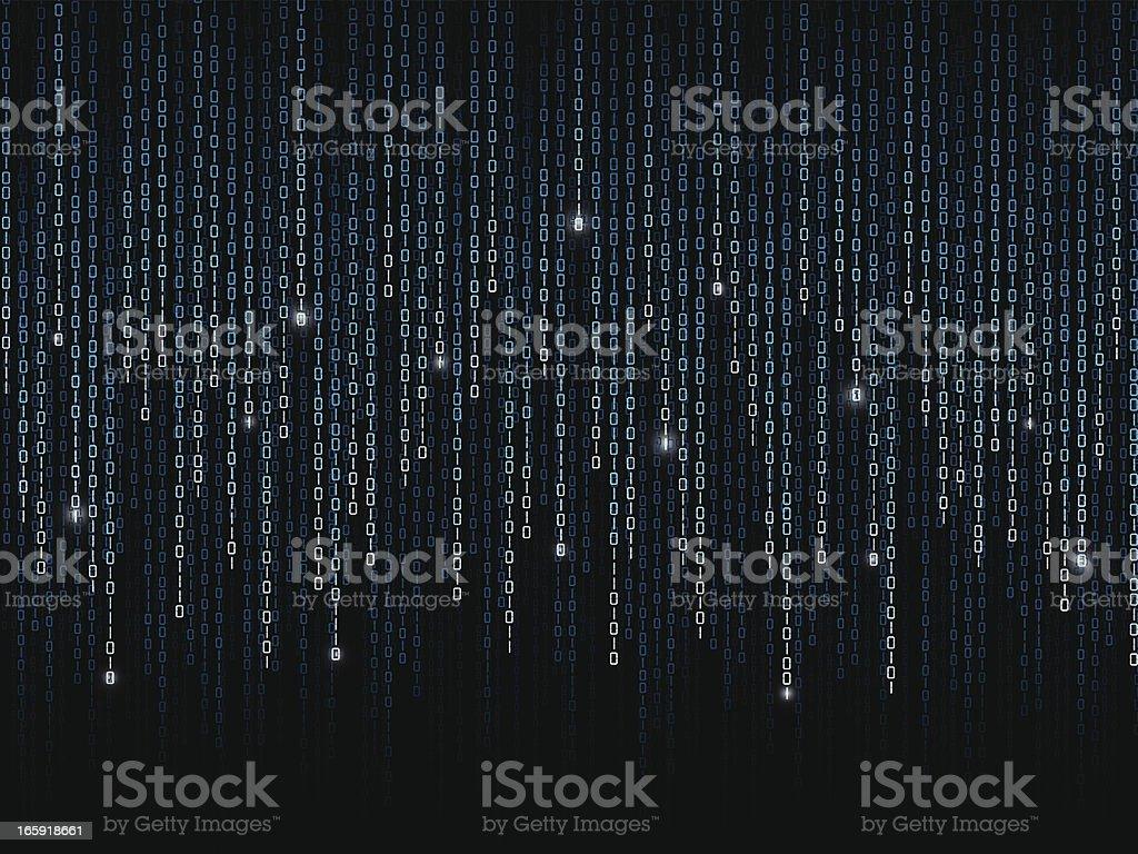 Binary code pattern on black background royalty-free stock vector art