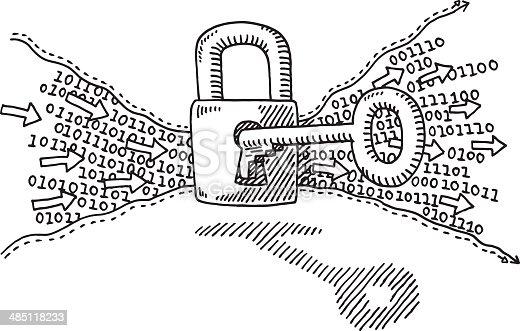 Binary Code Security Lock Key Drawing Stock Vector Art