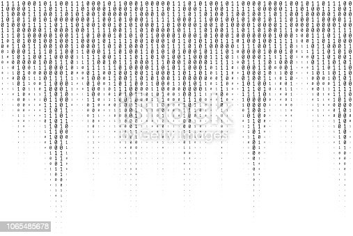 Vector texture of different size and shades of numbers 0 and 1 composing binary code falling from above