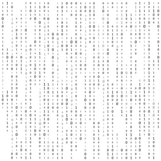 ilustrações de stock, clip art, desenhos animados e ícones de binary code zero one matrix white background. banner, pattern, wallpaper. vector illustration. - um animal