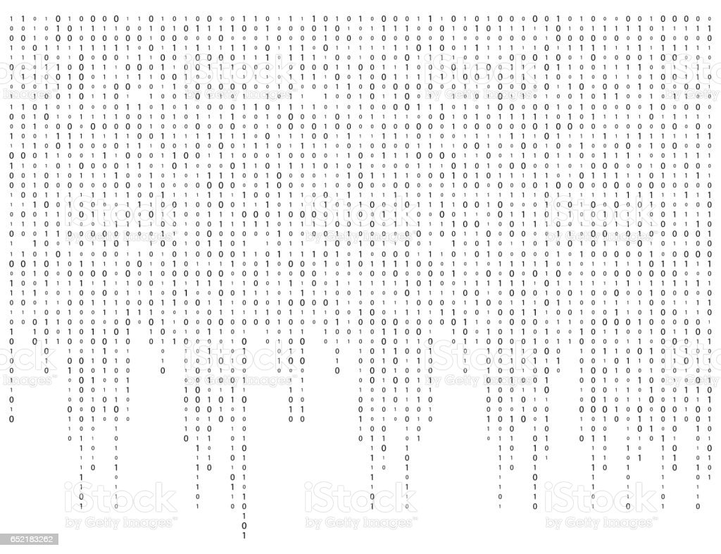binary code zero one matrix white background beautiful banner wallpaper vector art illustration