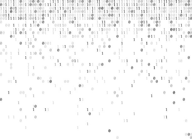 binary codes rain bw falling binary codes background number stock illustrations