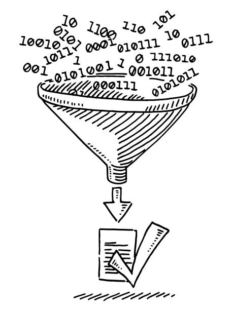 Binary Data Through Funnel Verified Document Drawing Hand-drawn vector drawing of Binary Data going Through a Funnel, the result is a Verified Document with a check mark symbol. Black-and-White sketch on a transparent background (.eps-file). Included files are EPS (v10) and Hi-Res JPG. business stock illustrations