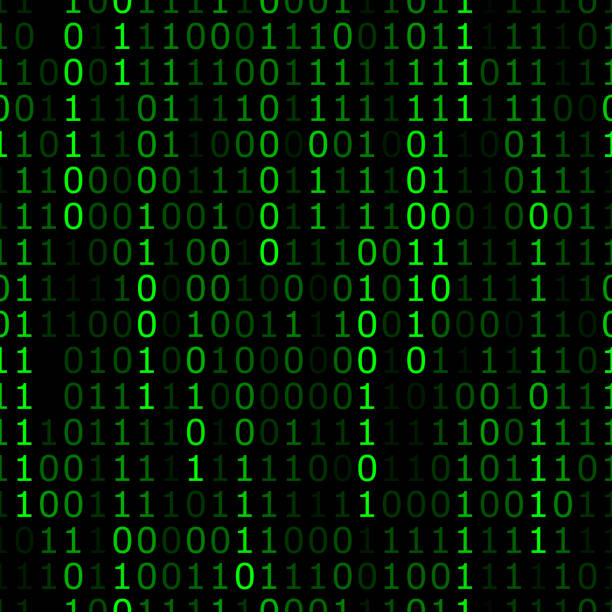Binary Fading Pattern Vector illustration of green binary numbers of 1 and 0 in a repeating pattern against a black background. binary code stock illustrations