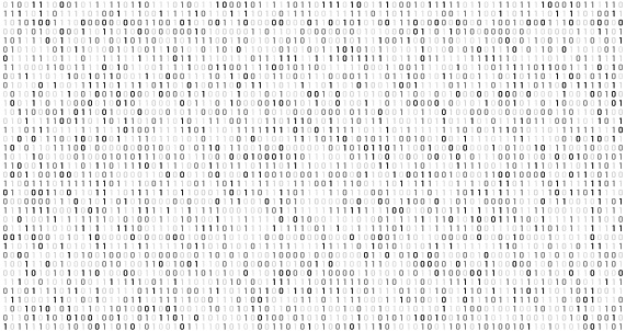 Binary matrix code. Computer data stream, digital security codes and gray coding information. Screen with coding numbers, matrix hacking coded digital display abstract vector background