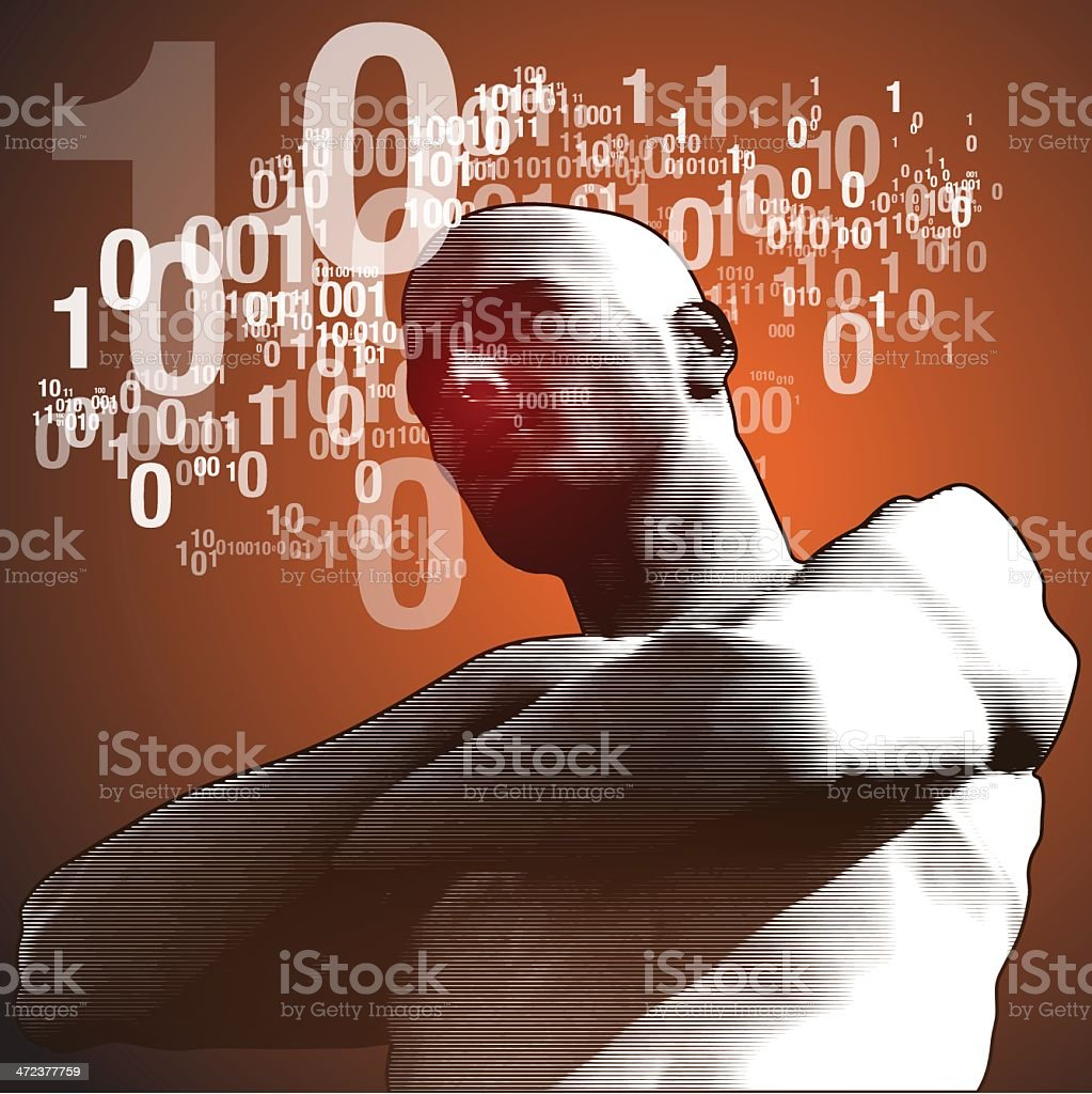 Binary thinking - low profile view royalty-free stock vector art