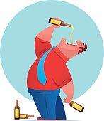 vector illustration of lonely businessman drinking beer…
