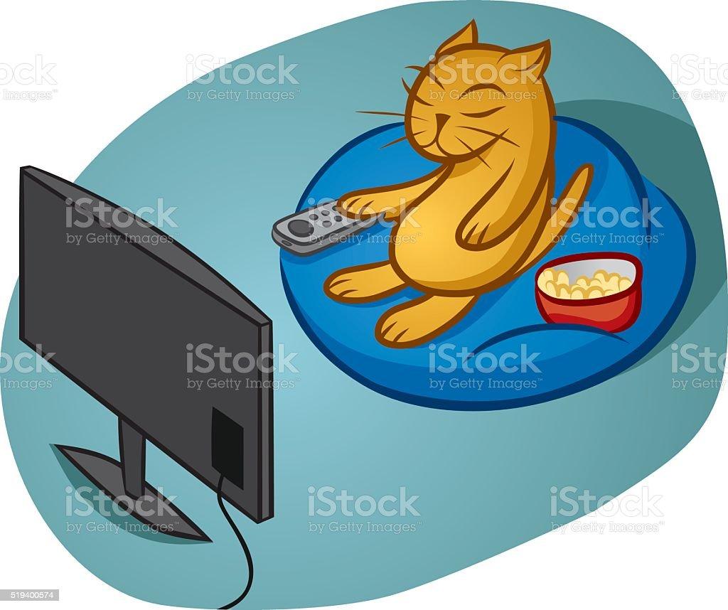 Binge-Watching Cat vector art illustration