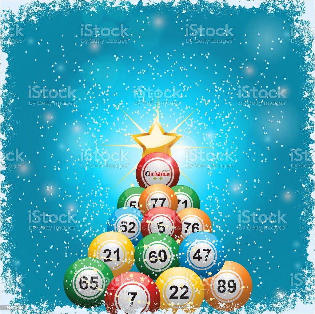Bingo Bola de Árvore de Natal, fundo - ilustração de arte em vetor