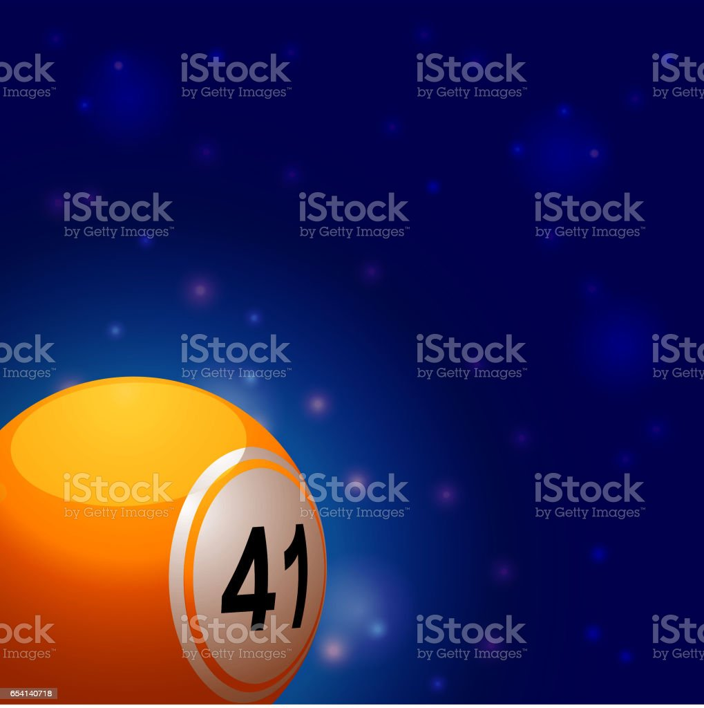 Bingo ball into space background vector art illustration