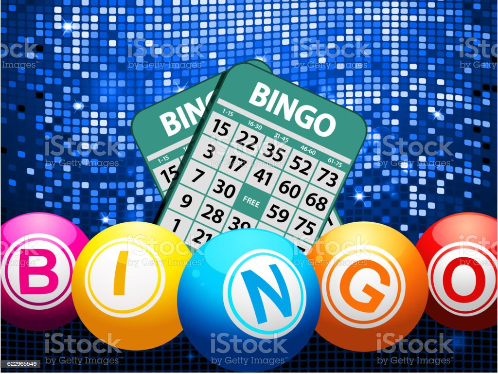 Bingo balls and cards on blue mosaic background ベクターアートイラスト