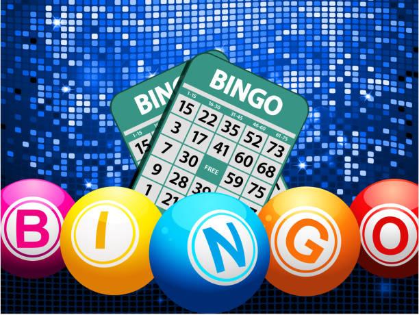 Bingo balls and cards on blue mosaic background - ilustração de arte em vetor