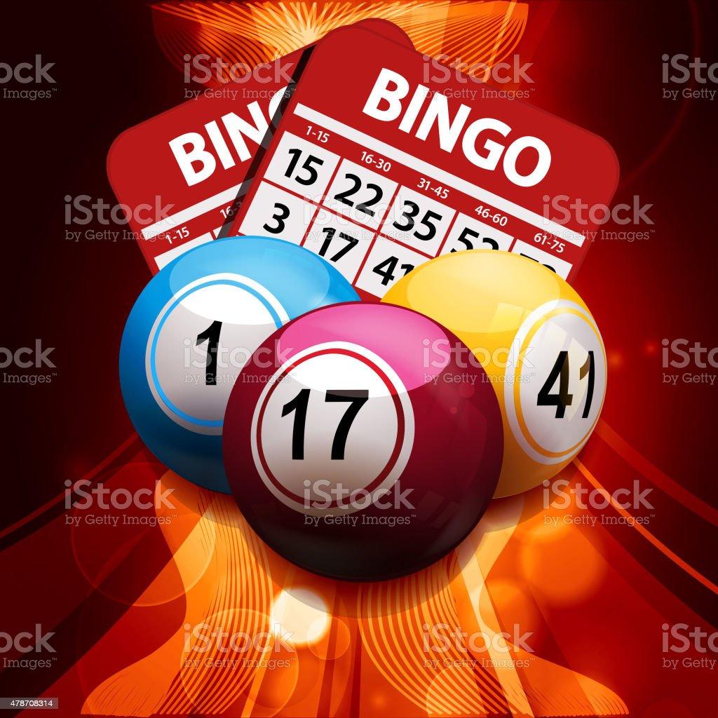 bingo pelotas y tarjetas de fondo abstracto brillante - ilustración de arte vectorial