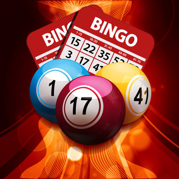 bingo bolas e cartas em fundo abstrato brilhante - ilustração de arte em vetor