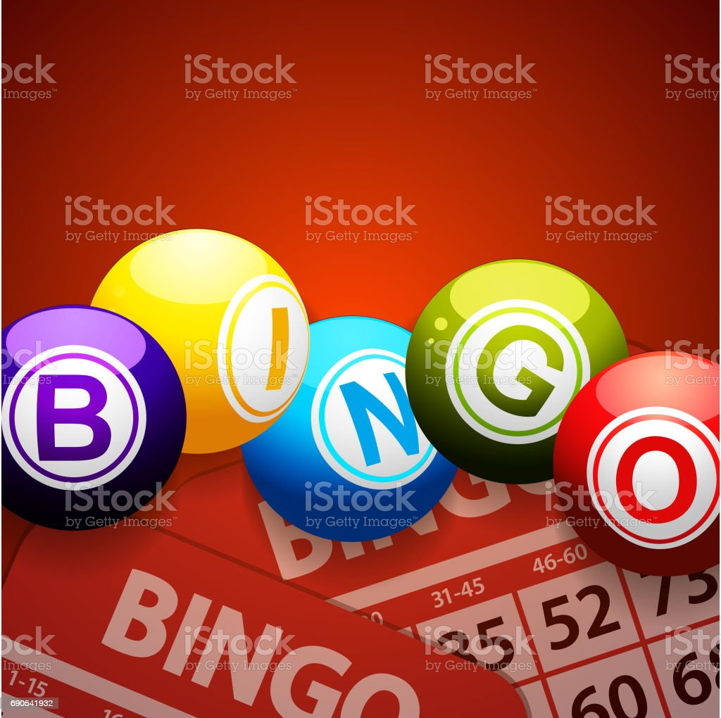 Bingo balls and cards on red background vector art illustration