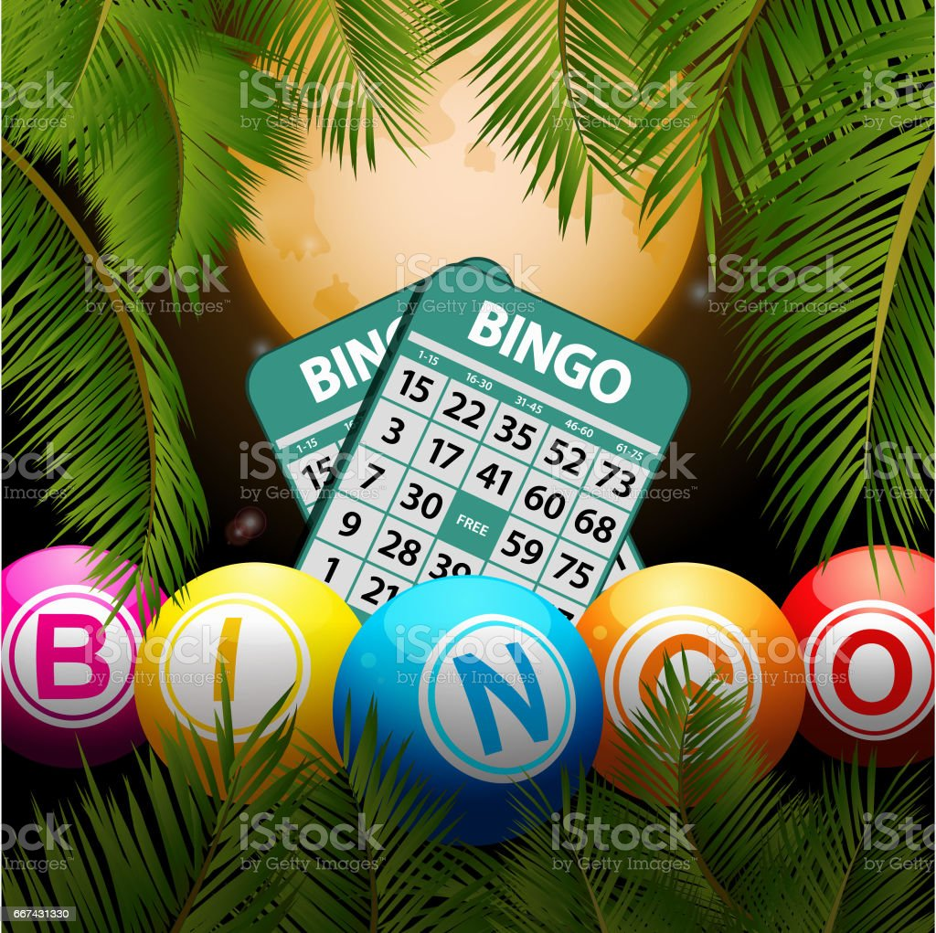 Bingo balls and cards over moon and palm trees vector art illustration