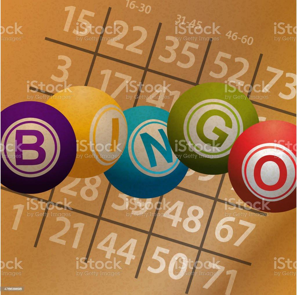 Bingo pelotas y números en brownpaper fondo - ilustración de arte vectorial