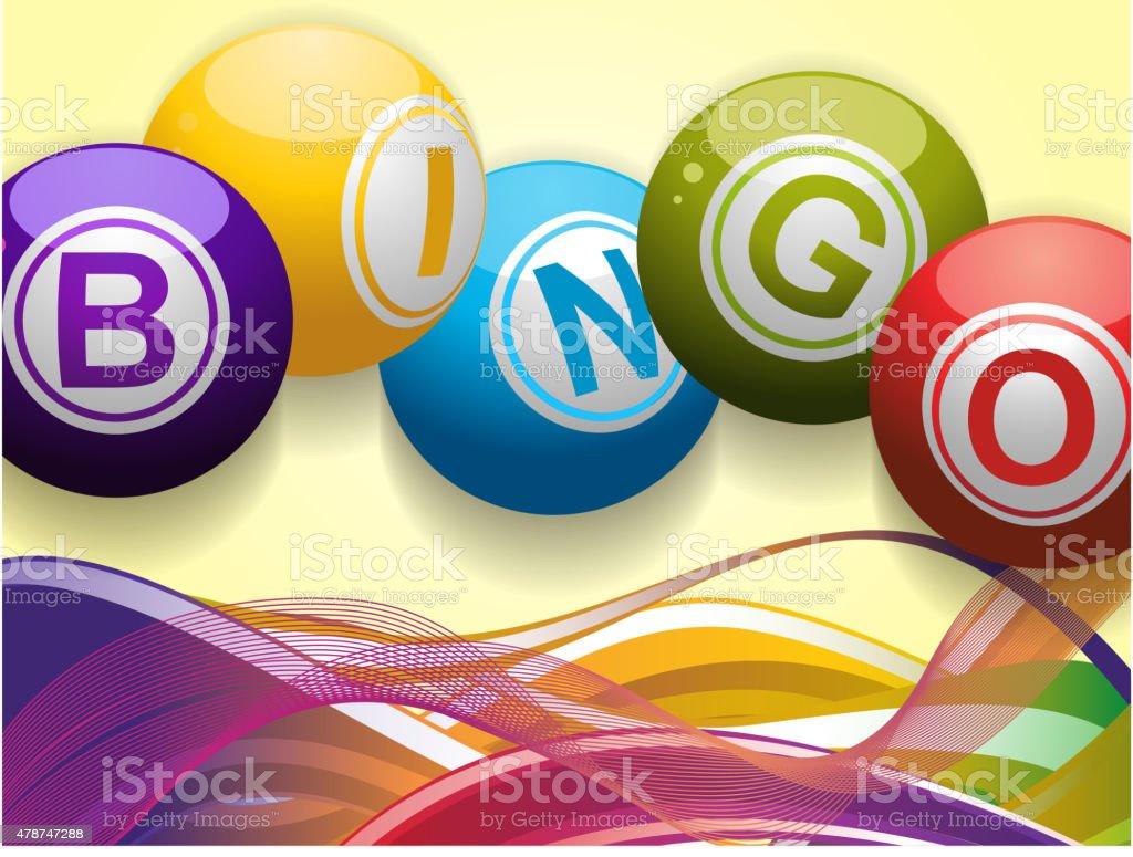 Bingo pelotas, olas de fondo - ilustración de arte vectorial