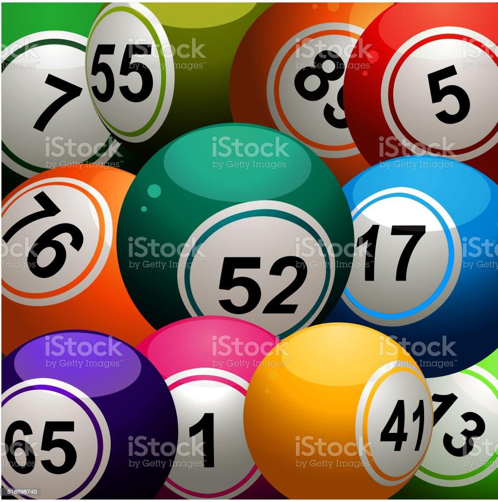 Bingo pelotas acercamiento de fondo - ilustración de arte vectorial