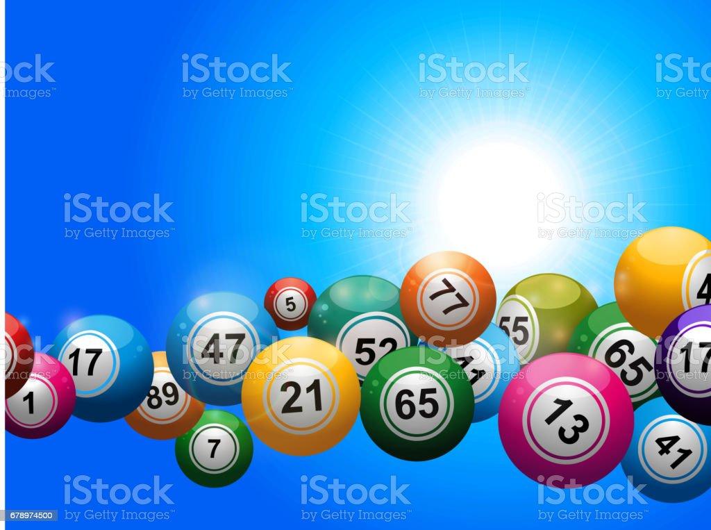 Bingo balls floating over blue sunny sky - ilustração de arte em vetor