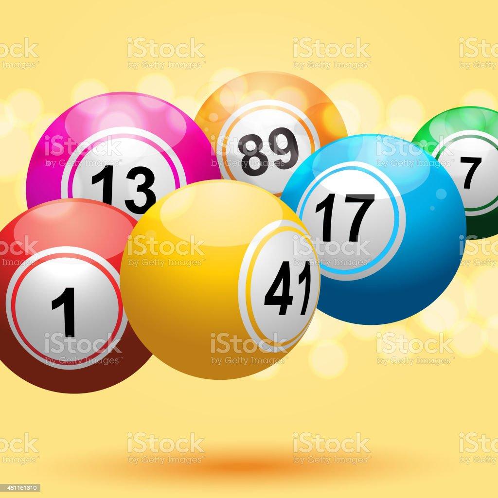 Bingo pelotas flotando sobre fondo amarillo - ilustración de arte vectorial