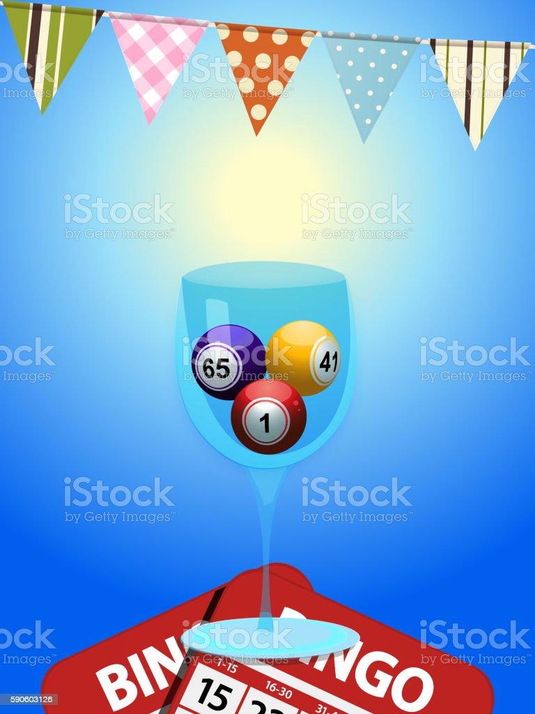 Bingo balls in a glass with cards and bunting - ilustración de arte vectorial
