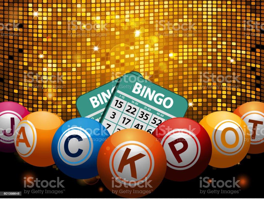 Bingo balls jackpot and cards over disco wall - ilustración de arte vectorial
