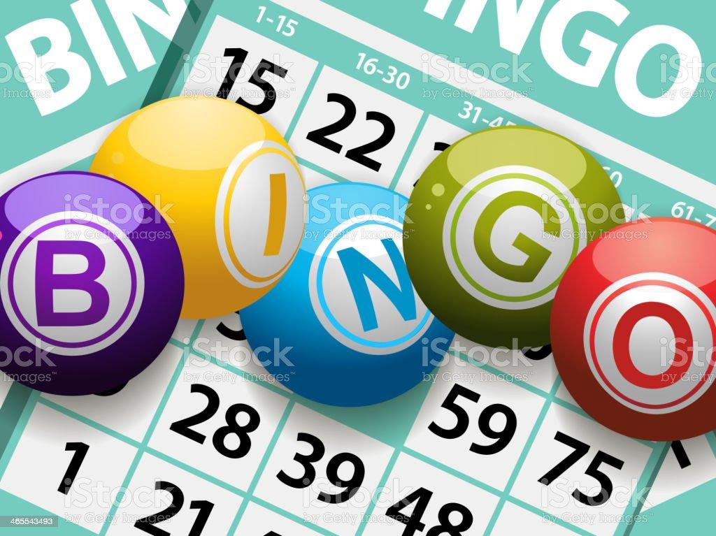 bingo bolas em um fundo de cartão - ilustração de arte em vetor