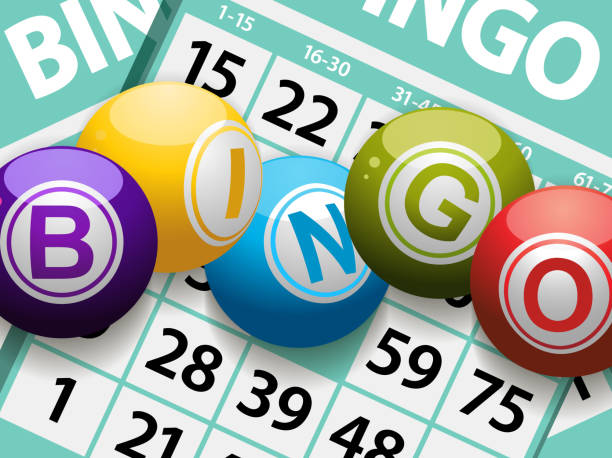 bingo balls on a card background Bingo balls on a Background of Cards. Image is Ai10 with transparency used on shadows bingo stock illustrations