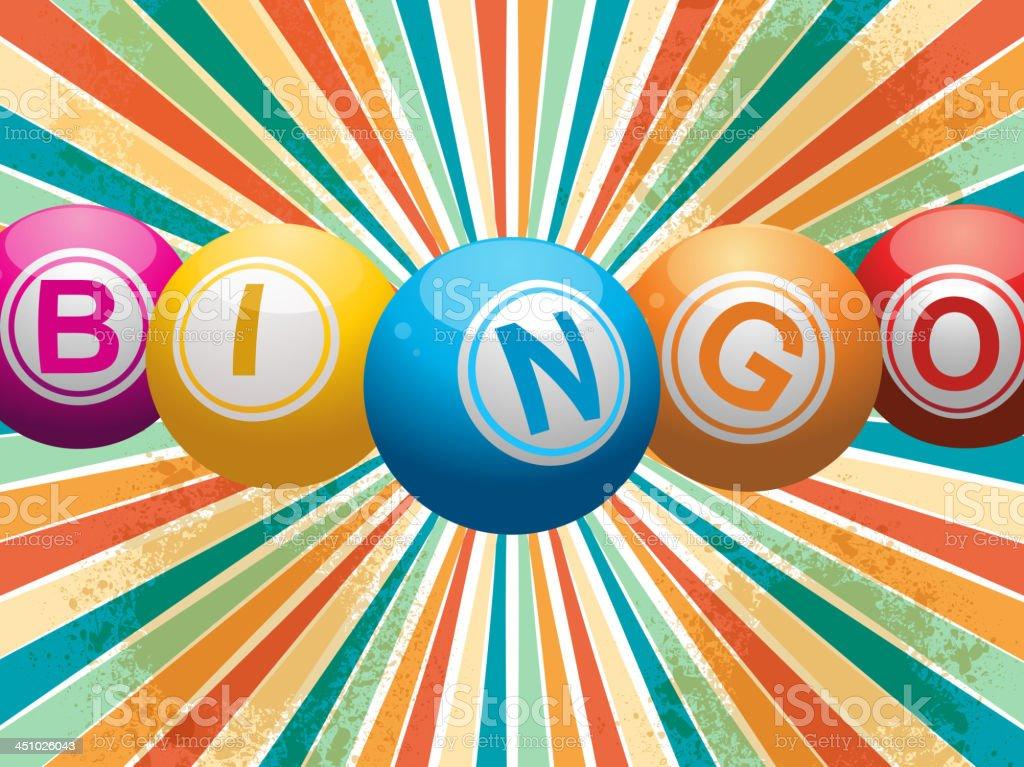 Bingo bolas em um starburst retrô - ilustração de arte em vetor