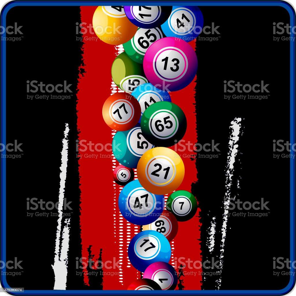 Bingo pelotas sobre fondo rojo y negro - ilustración de arte vectorial