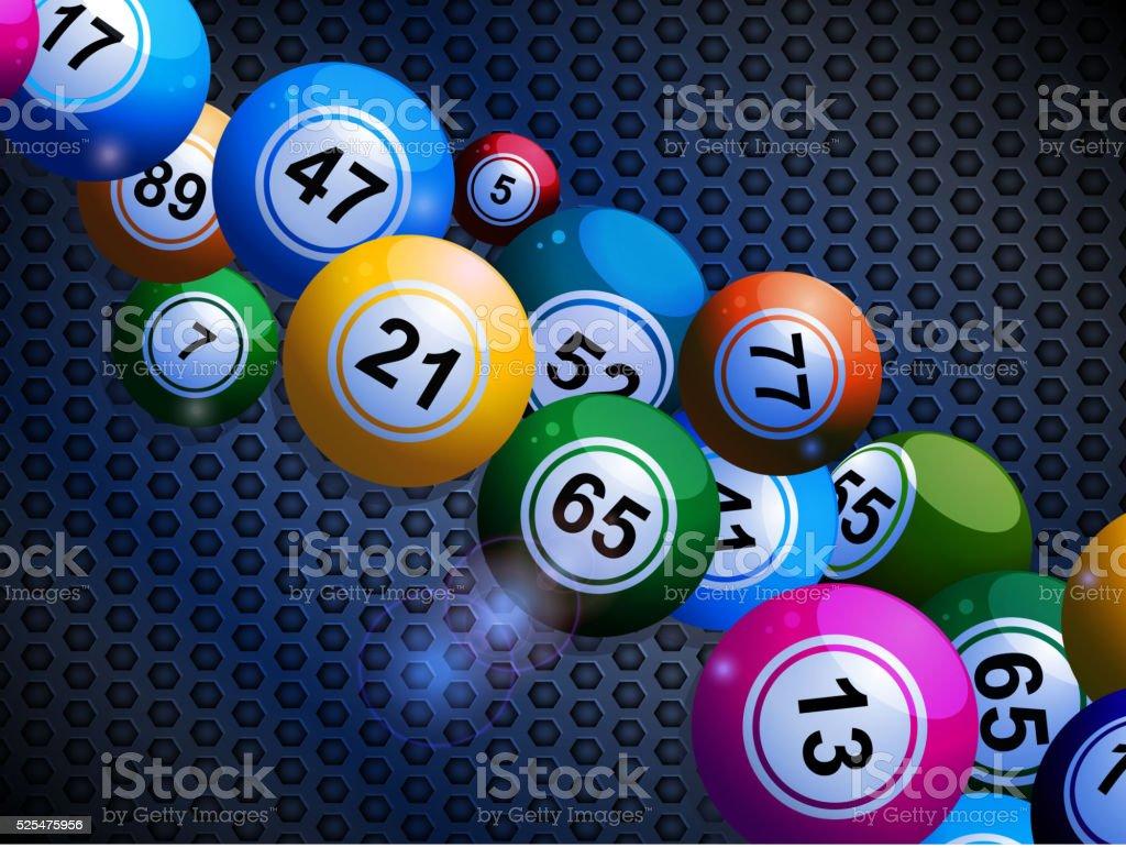 Bingo bolas de fundo metálico em favo de mel - ilustração de arte em vetor
