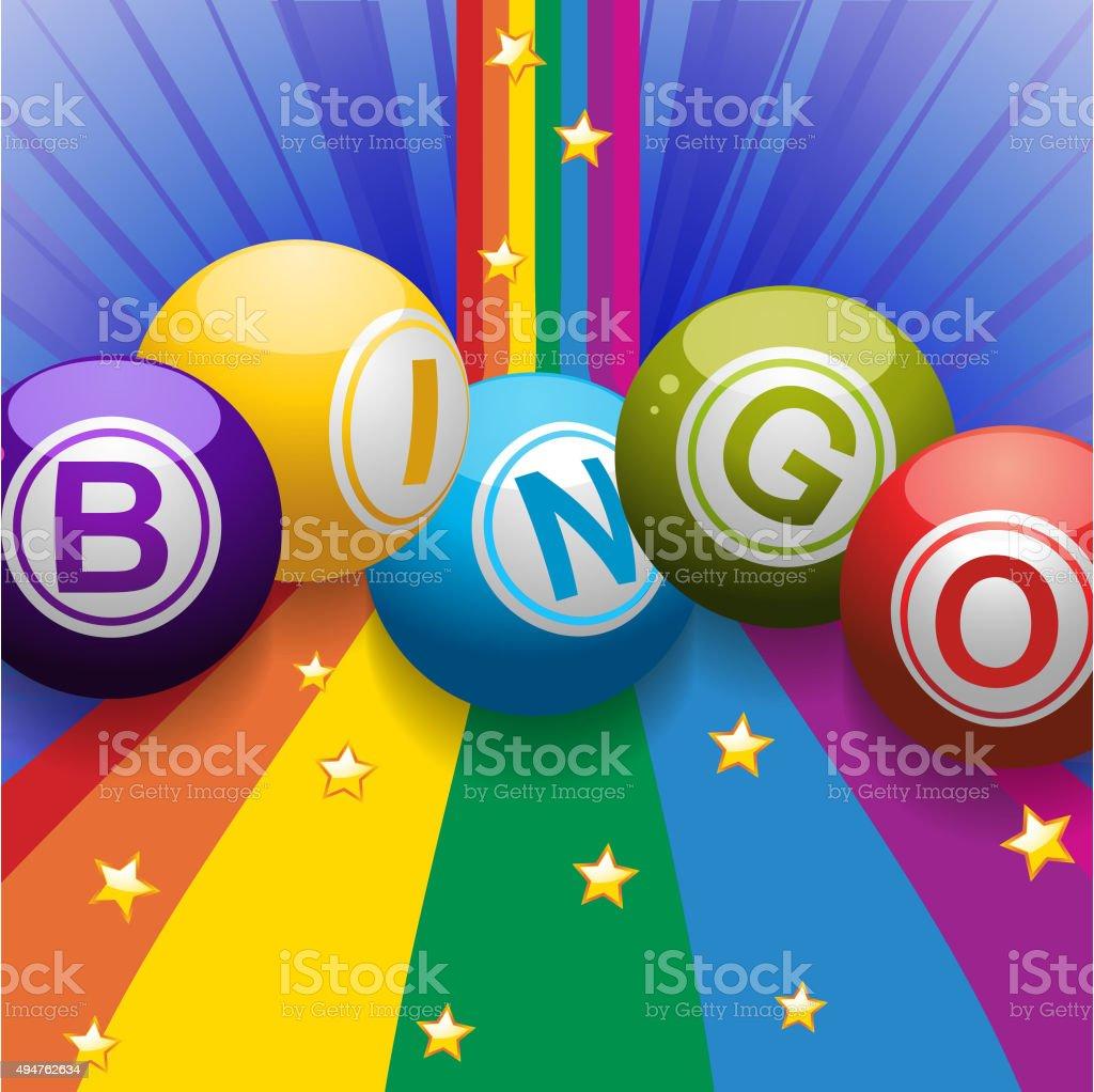 Bingo pelotas en Arco iris sobre fondo azul - ilustración de arte vectorial