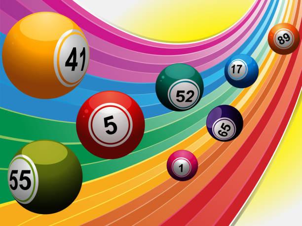 Bingo balls over curved rainbow - ilustração de arte em vetor