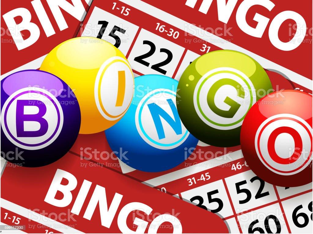 Bingo balls over red bingo cards - ilustração de arte em vetor