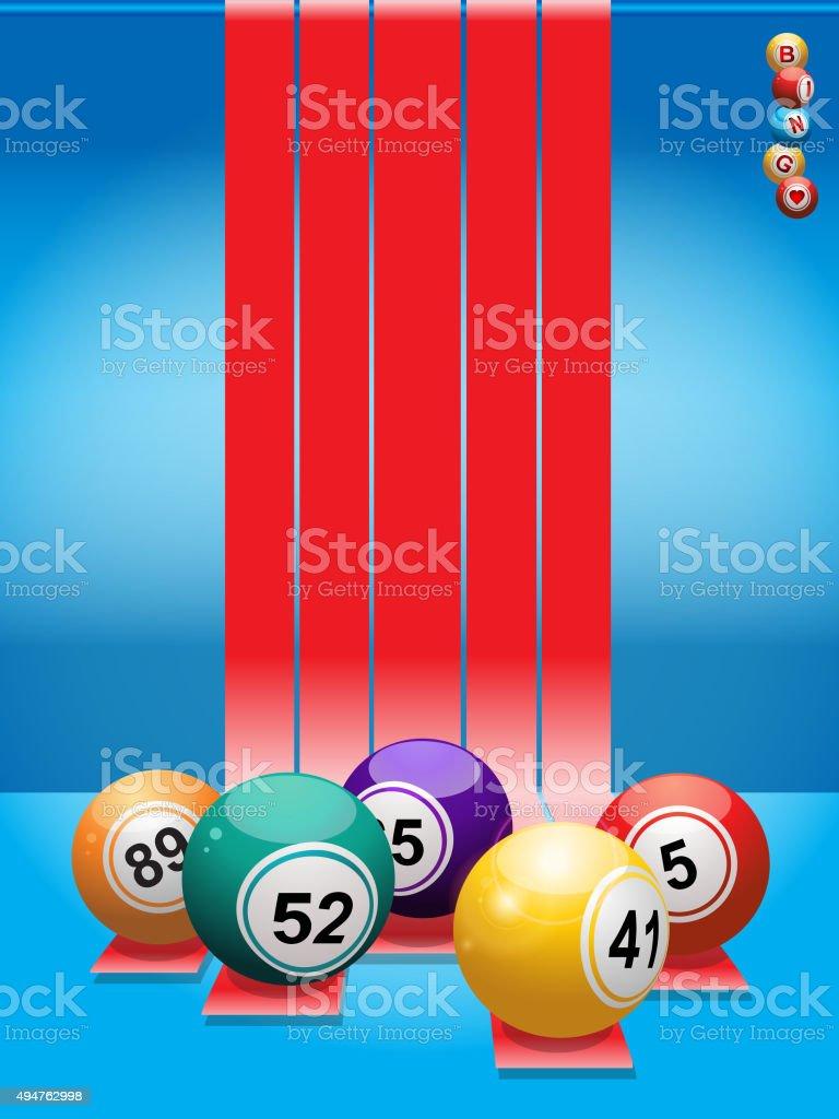 Bingo com bolas vermelhas e listras - ilustração de arte em vetor
