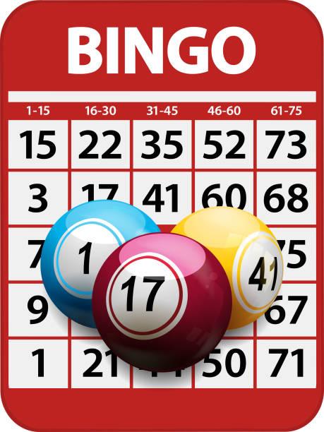 Cartela de Bingo e bolas de fundo - ilustração de arte em vetor