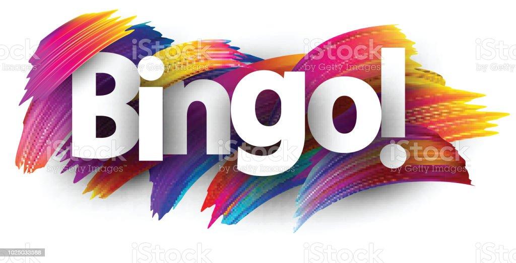 Tarjeta de bingo con pinceladas de colores. - ilustración de arte vectorial