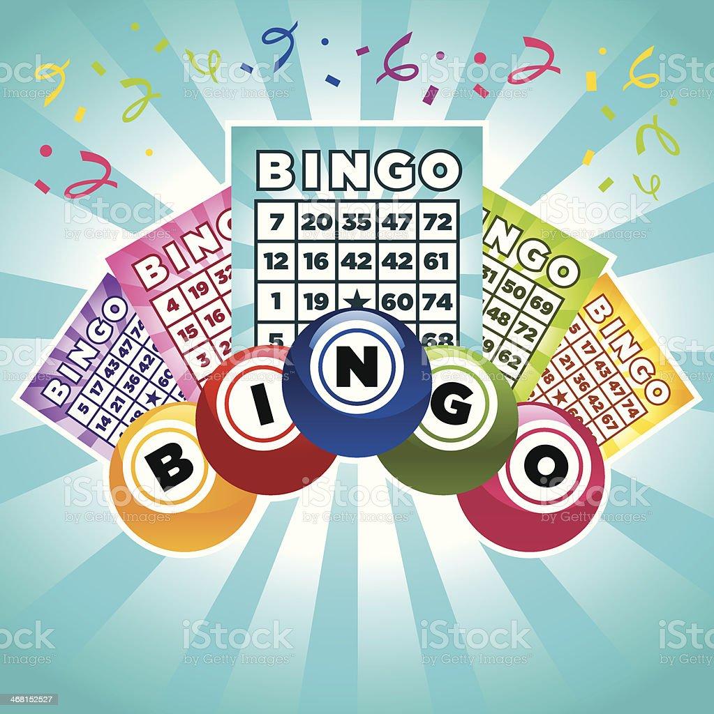 Bingo cartões e bolas - ilustração de arte em vetor