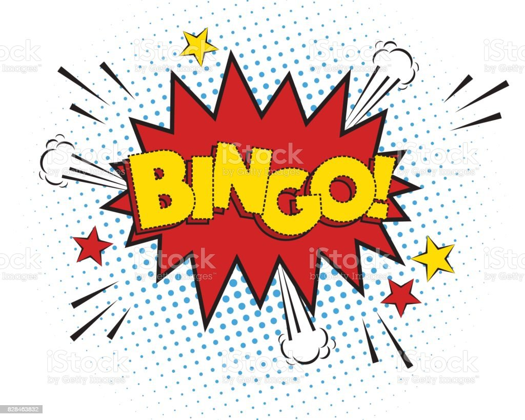 Explosión de Bingo cómico aislado sobre fondo blanco, ilustración vectorial. - ilustración de arte vectorial