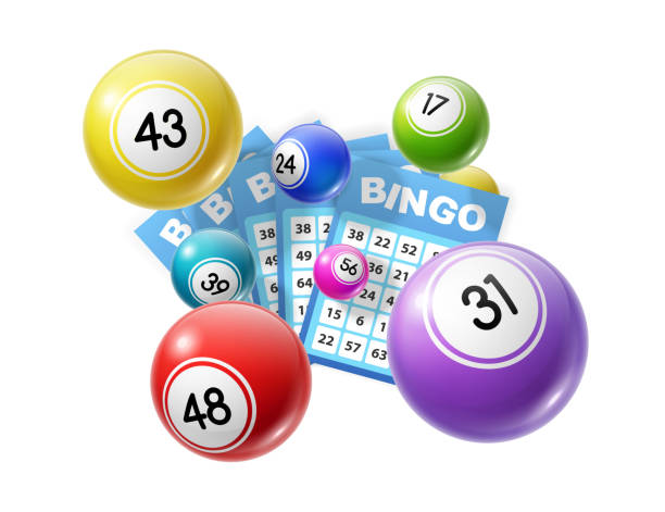 Bingo lottery balls and lotto cards lucky numbers Bingo lotto game balls and lottery cards with lucky numbers. Vector poster for bingo lottery tv show backdrop and lotto win tickets store, gmabling and win chance bingo stock illustrations