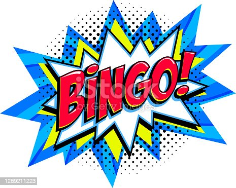 istock Bingo - lottery blue vector banner. Lottery game background in Comic pop-art style 1289211223
