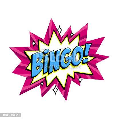 istock Bingo - lottery pink vector banner. Lottery game background in Comic pop-art style. Cartoon vector illustration 1300330351